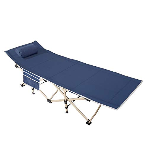 SogesHome Folding Camping Bed Outdoor bed Single Camping bed fishing chair,office bed,folding bed,square tube,Navy blue, NSD-CT-F10NB-01