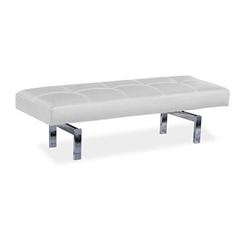 Adec - Bench, Banco tapizado, descalzadora Auxiliar de Dormitorio Acabado en simil Piel Color Blanco, Medidas: 120 cm (Ancho) x 40 cm (Alto) x 40 cm (Fondo)