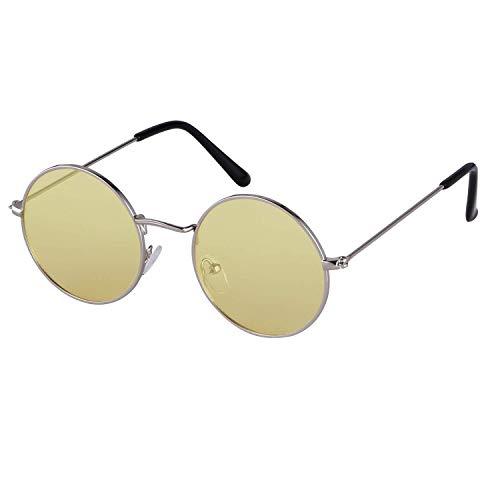 ADEWU ADEWU Runde Sonnenbrille Vintage Street Style Brillen mit Dünnen Metallrand für Herren Damen