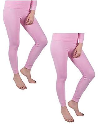 Andrew Scott Women's 2 Pack Long Thermal Fleece Cotton Legging Pants (Medium/ 6, 2 Pack-Pink)