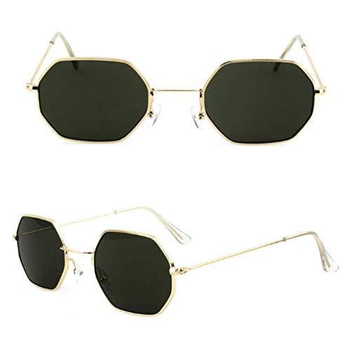 NIUASH Sonnenbrille polarisiert Sonnenbrillen Frauen Polygon Clear Lens Sonnenbrillen Männer Vintage Sonnenbrillen Frauen Sechseck Metallrahmen