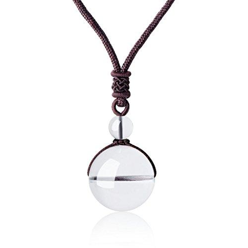 coai Unisex Edelstein Bergkristall Perle Anhänger Glückskette Verstellbare Halskette