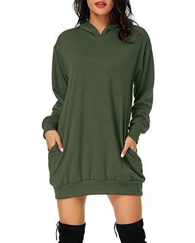Affuhua Sudadera con capucha para mujer, con dos bolsillos laterales verde militar M