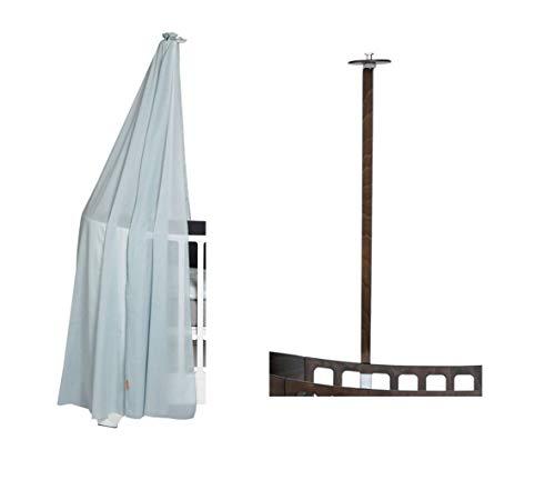 Leander Himmelgestell walnuss für Leander Babybett + Himmel (Schleier) misty blue