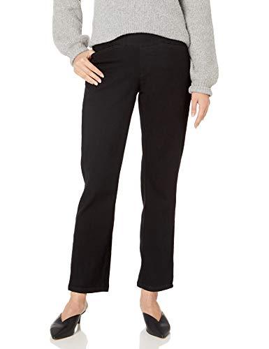 Chic Classic Collection Women's Easy-Fit Elastic-Waist Pant, Black Denim, 12