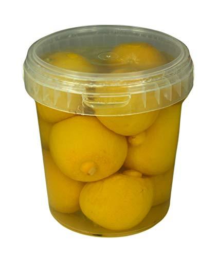 Hymor Marokkanische Salzzitronen - 1x 500gramm Behälter - eingelegte Zitronen in Salzlake Zitrone aus Marokko Zitronen eingelegt im Behälter vegan glutenfrei Tajine Cous-Cous Fisch Risotto