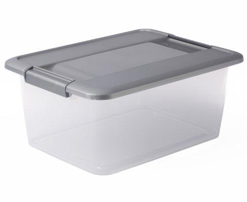 Sundis 4387006 Boîte de Rangement avec couvercle clipsable et poignées ergonomiques, Polypropylène, Transparent/Argent, 12L