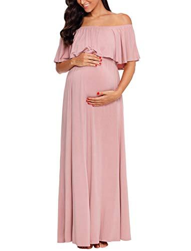 Ecavus Womens Off Shoulder Maternity Dress Ruffle Trim Maxi Photography Dress for Baby Shower Dusty Pink