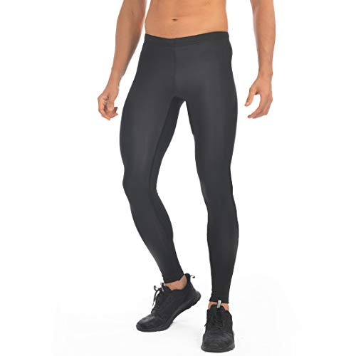 Przewalski Men's Cycling Tights Running Leggings Outdoor Athletic Workout Compression Training Pants Black