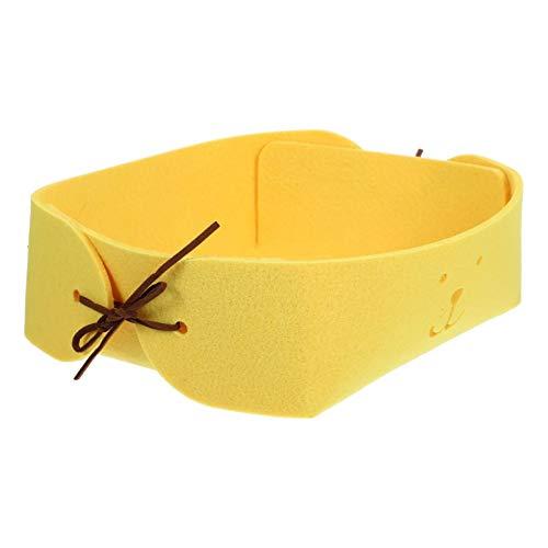 ULTECHNOVO Cesta de Armazenamento de Feltro de Mesa Organizador de Brinquedo Caixa de Armazenamento de Lanche Porta-Chaves Escritório Casa Organizador Amarelo