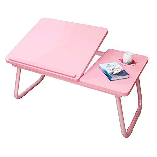 HYY-YY Zusammenklappbarer Laptop-Schreibtisch mit klappbaren Beinen, geeignet für Zuhause, Schule, Büro, Bett, Sofa, Boden (Farbe: Rosa, Größe: 55 x 32 cm)