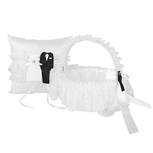Almohada de boda Conjunto de almohada de anillo de cesta, Boda Nupcial Flor Canasta Anillo Al portador Cojín Almohada de encaje para compromiso(Suministros de boda)