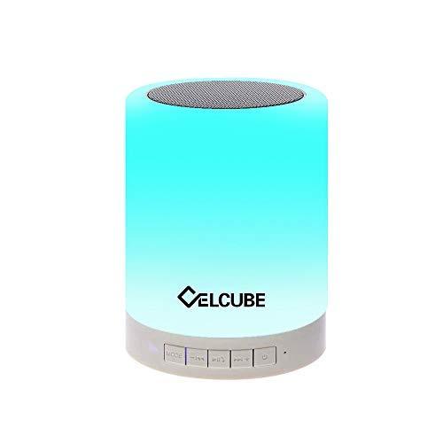 Celcube Night Light Bluetooth Speaker, Touch Bedside Lamp with Wireless Bluetooth Speaker, Smart Dimmable Color Night Light, LED Table Lamp with Stereo Speaker, Gift for Men Women Teens Kids Children