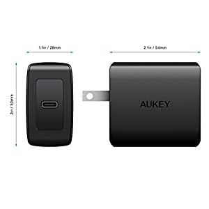 PD Charger AUKEY 18W USB C Charger with Foldable Plug & Power Delivery 3.0, Ultra Compact Fast Charger Type C Wall Charger for iPhone 11 Pro Max/SE, iPad Pro, AirPods Pro, Pixel 4 XL, LG V50, Switch