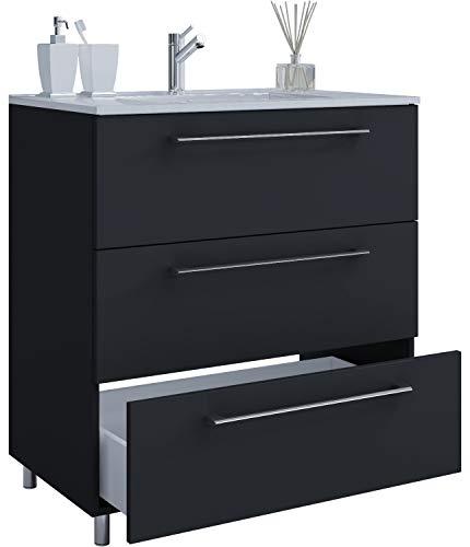 VCM 2-TLG. Stand-Waschplatz Set Badmöbel Waschbecken Keramik Waschtisch 3 Schubladen 80 cm, Schwarz