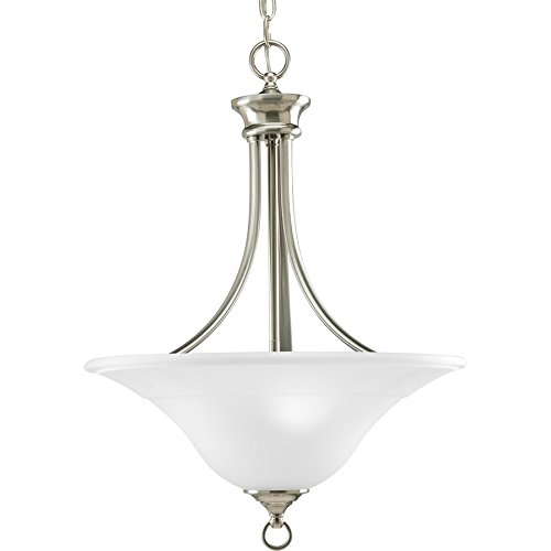 Progress Lighting Trinity 18-in Brushed Nickel Single Etched Glass Bowl Pendant