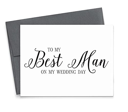 To My Best Man on my Wedding Day, Wedding Party Thank You Card, 1 Greeting card with envelope