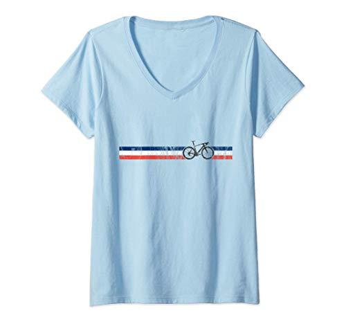 Femme Cyclist Flag France French Bike Racing Cycling Design T-Shirt avec Col en V