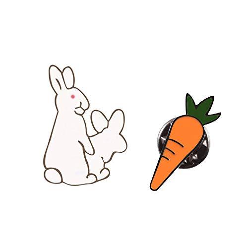 Conejos blancos creativos Broches Malvado Animal Conejito Zanahoria Esmalte Pernos de metal...