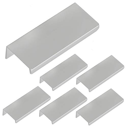 LICTOP 80mm/3.15' Silver Aluminum Home Kitchen Cabinets Drawers Collection Long Hole Centers Finger Edge Pull Tab Handle (6pcs)