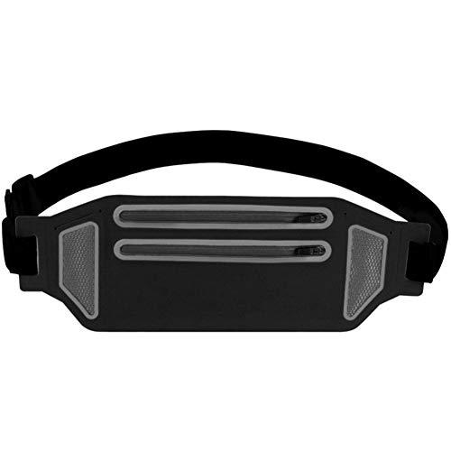 HXT Riñonera Deportiva Cinturón Bolsa de Correr Bolso Cintura Cinturón de Correr Impermeable Ajustable para Deportes Fitness Jogging Ciclismo Negro