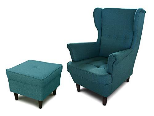 Ohrensessel Sessel King - Lounge Sessel mit Armlehnen - Retro Stuhl aus Stoff mit Holz Füßen - Polsterstuhl für Esszimmer & Wohnzimmer (Blau (Inari 87), mit Hocker)