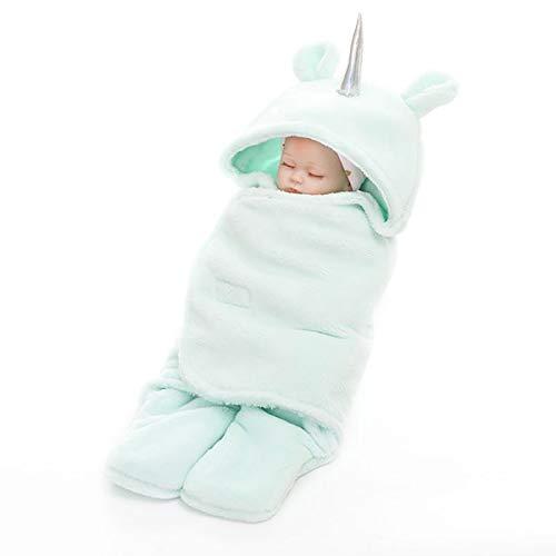 NFSQYDT Saco de Dormir de Paño Grueso y Suave Recién Nacido Manta de Colcha con Pierna Niño Niña, Doble Capa Saco de Dormir Universal para Cochecito de Cuna Green-65cm x 75cm