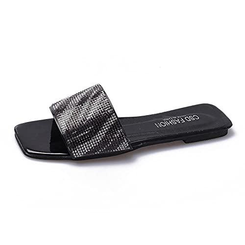 MDCGL Zapatillas Estar Casa Sandalias de Verano con Chanclas para el hogar para Mujeres,niñas,Zapatillas de Punta Abierta para Interiores y Exteriores,Zapatos de Playa,patrón de Cebra EU37