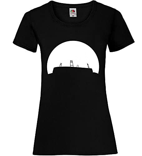 Shirt84.de Bremen - Camiseta para mujer con diseño de estadio de fútbol en la puesta de sol Negro M