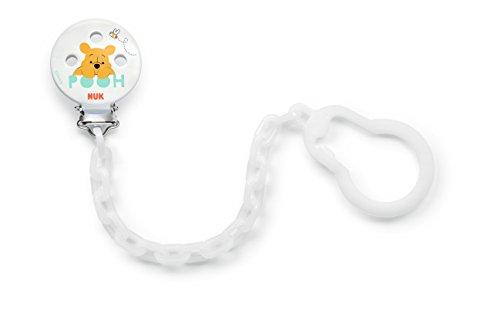 Nuk 10256449 Disney Winnie Schnullerkette, mit Clip zur sicheren Befestigung des Schnullers an Baby's Kleidung, 1 Stück, weiß