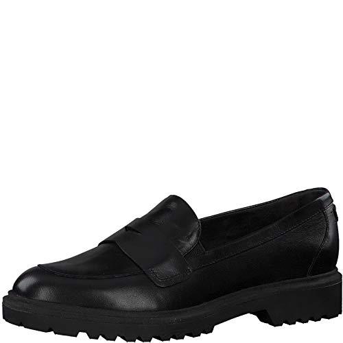 Tamaris Damen Mokassins, Frauen Slipper, College Schuh Loafer Halbschuh elegant Business-Schuh anzugschuh,Black Leather,36 EU / 3.5 UK