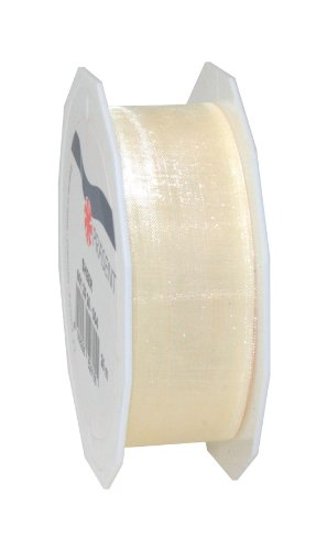 Präsent - SHEER Organzaband - créme - 25-m-Rolle 25 mm