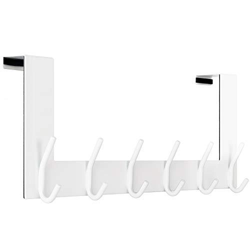 WEBI Over The Door Hook:Over The Door Towel Rack,Door Coat Hanger Towel Hanger Over Door Coat Rack 6 Hooks for Hanging Clothes,Hats,Bathroom,White