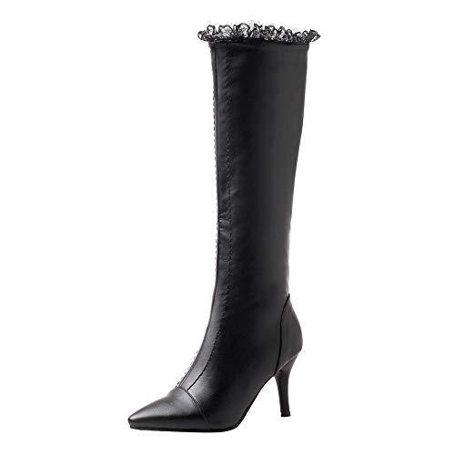 LIMITA Damenstiefel Hohe Stiefel Mittlere Stiefel High Heels für Herbst und Winter Sexy Spitze Spitz Stiletto Booties Wild Side Zipper High Tube Stiefel