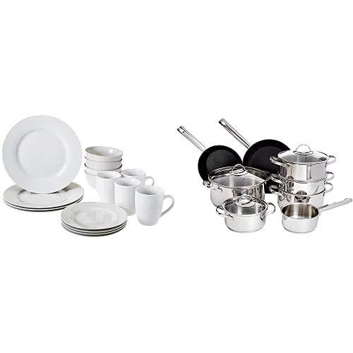 Amazon Basics - Vajilla para 4 personas (16 piezas) + Juego de utensilios de cocina de acero inoxidable, sartenes y ollas