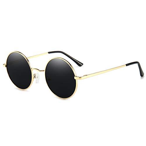 Vintage Round Sunglasses John Lennon Style Circle Hippie Polarized Sunglasses for Men Women Black lens/Gold frame
