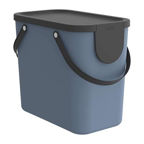 Rotho Albula Aufbewahrungsbox Deckel, Kunststoff (PP recycelt), blau/anthrazit, 25l, (40 x 23,5 x 34 cm)