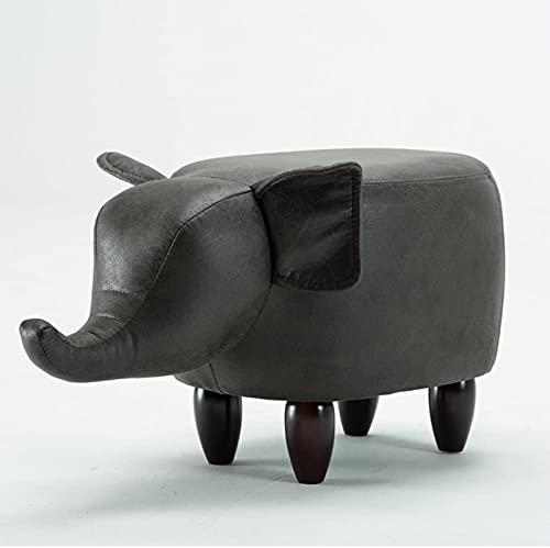 HZYDD Niños Animales Elefante Reposapiés, Creative 4 Piernas Silla Silla SECHANDO Silla DE TABILLA SOLABLE para NIÑOS Taburete de Zapato para Sala de Estar Dormitorio-Negro L63XW33XH36CM