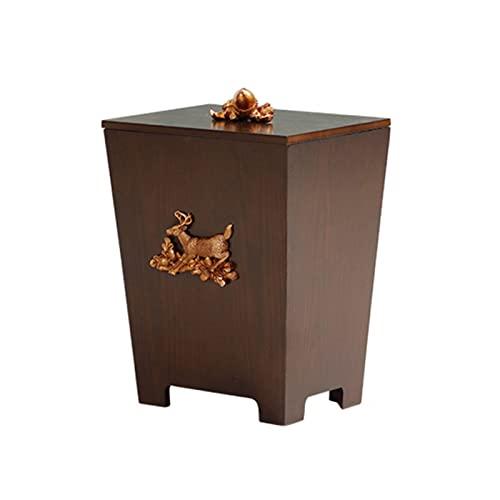 WYZDCP Papelera de Basura con Forma de Cubo con Tapa de Madera Papelera de Papel Bins Bins BinsKaskets Creative Retro Estilo Residual Residuos Papelera de Bases basadas para Dormitorio