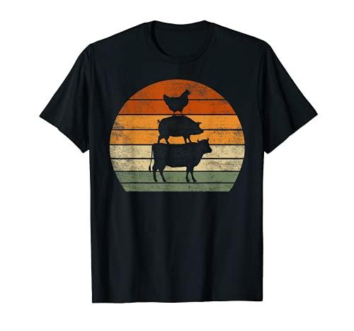 Animales de granja regalos mujeres hombres vaca cerdo pollo impresión gráfico Camiseta