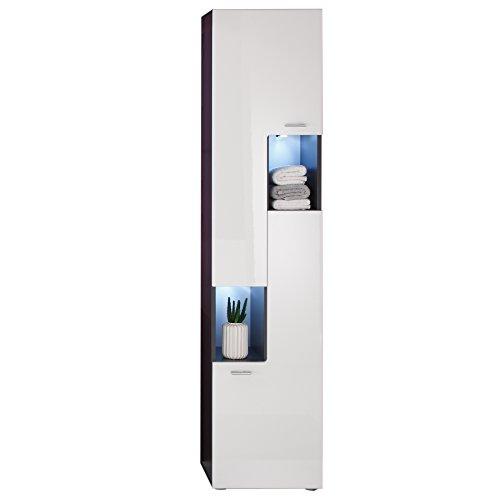 Maisonnerie1330-103-03 Armoire Grand Meuble Salle de Bain Graphite Décor Tetis Blanc Ultrabrillant LxHxP 40 x 182 x 30 cm
