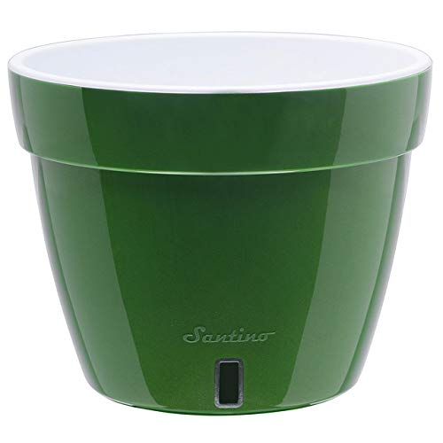 Santino 11.8 Inch Self Watering Planter Asti in Green-Gold/White - Modern Flower Pot with Water Level Indicator for All House Plants, Flowers, Herbs, Succulents and Hanging Plants