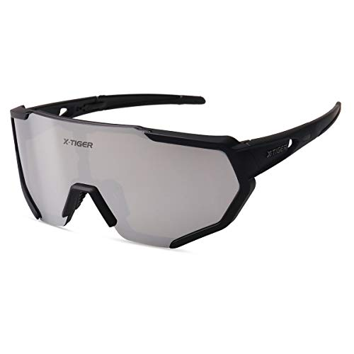 X-TIGER Polarized Cycling Bike Sunglasses, Bicycle Glasses with 3 Interchangeable Lenses