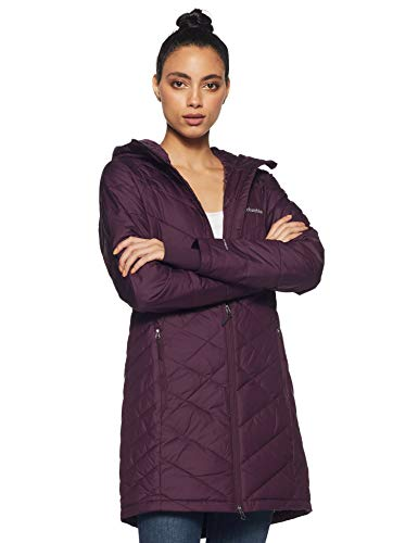 Columbia Women's Standard Heavenly Long Hooded Jacket, Black Cherry, Small