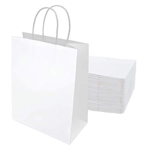 Gaoyong 15 pièces Sac Cadeau 32 * 26 * 12CM,Sac Kraft,Sachet Papier Kraft,Sac en Papier Blanc,Sacs en Papier avec Poignées,Pochette Cadeau(Épaissir 130gsm)
