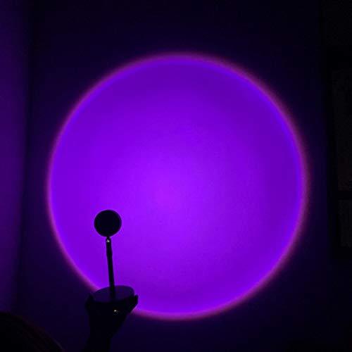 Horseshoe Lámpara De Proyección De Puesta De Sol, Lámpara De Proyección De Arco Iris De Rotación De 360 Grados LED, Proyector De Atmósfera Romántica, Luz Nocturna, Sala De Estar, Decoración,Púrpura