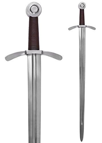 Kreuzritter Scheibenknauf-Schwert mit Lederscheide - handgeschmiedet aus Stahl - Templerschwert Erwachsene