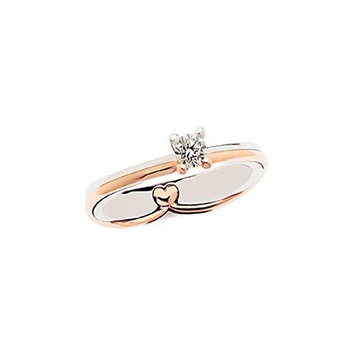 Solitario In Oro Bianco E Rosa 18kt 750/1000 Con Diamante Polello, 11