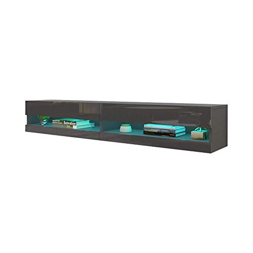 MEBLE FURNITURE & RUGS Vigo New 180 LED Wall Mounted 71' Floating TV Stand (Grey/Black)