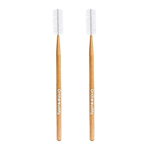 Ortho-Buddy Orthodontic Toothbrush for Braces, Ultra-Soft Nylon Bristle Toothbrush with Birch Wood Handle for Teens & Adults with Braces, Brackets, and Wires - Brown, Pack of 2